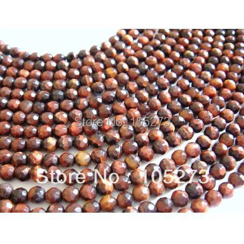 New Arriver Fashion Jewelry 4MM Faceted Round Red Color Tigers Eye 15/String Stones Loose Beads Hot Sale New Free Shipping<br><br>Aliexpress
