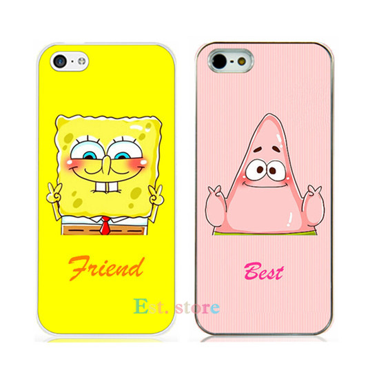 Best Friend SpongeBob Patrick Protective Phone hard Case iPhone 6 6p plus 4.7 5.5inch 5 5s 4 4s cute UV print back cover - Est. store