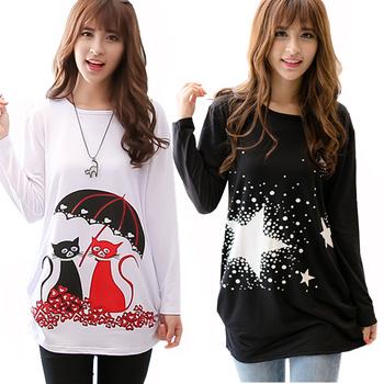 2015 fashion cartoon t shirt women long sleeve o-neck large plus size t-shirt high elastic 24 patterns camisetas long tunic top