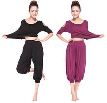 Сексуальный йога комплект женщины гимнастика одежда фитнес топы и брюки женщины без тары спорт йога комплект танец спорт одежда