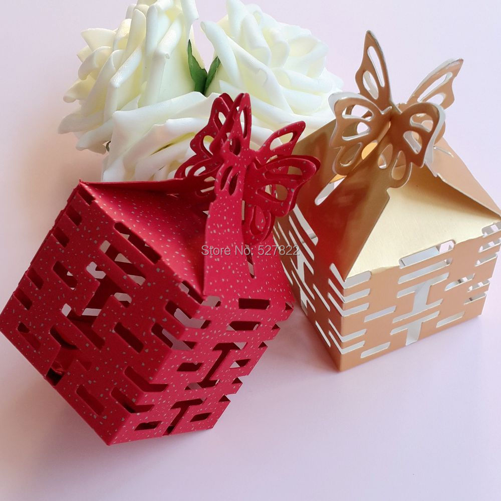 100PCS Double Happiness Candy Boxes Gift Boxes Wedding Party Favors Box Red/Gold Free Shipping(China (Mainland))