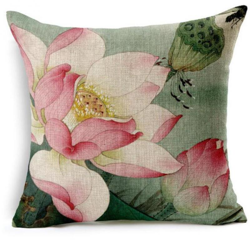 Factory Direct Supply 2016 New China Style Lotus Series Printed Linen Decorative Throw Pillow Cushion For Home Chair(China (Mainland))