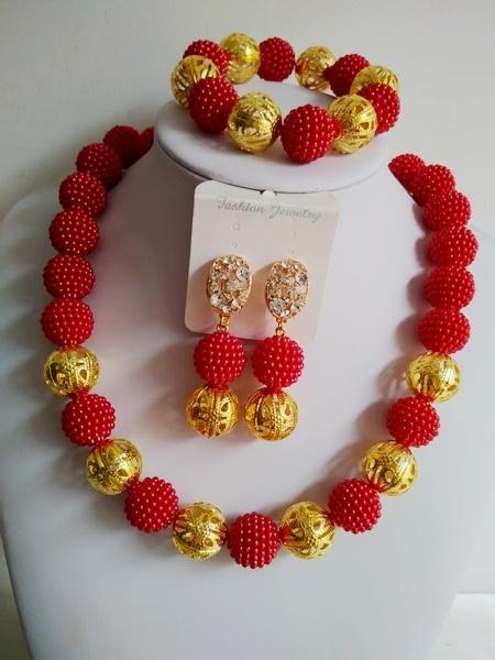 Мода африканский бусины комплект ювелирных изделий красный бусины невесты ювелирные ...