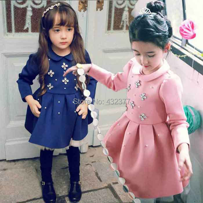 2014 new girl princess dress high quality new year girls wearing dress 2-8 years old toddler girls clothes pink/royal blue(China (Mainland))