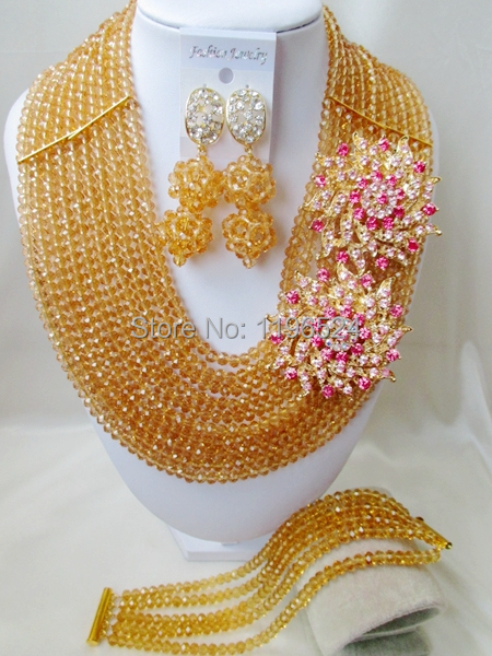 Luxury Champagne gold Crystal Necklaces Bracelet Earrings African Nigerian Wedding Beads Jewelry Set  A-7915<br><br>Aliexpress