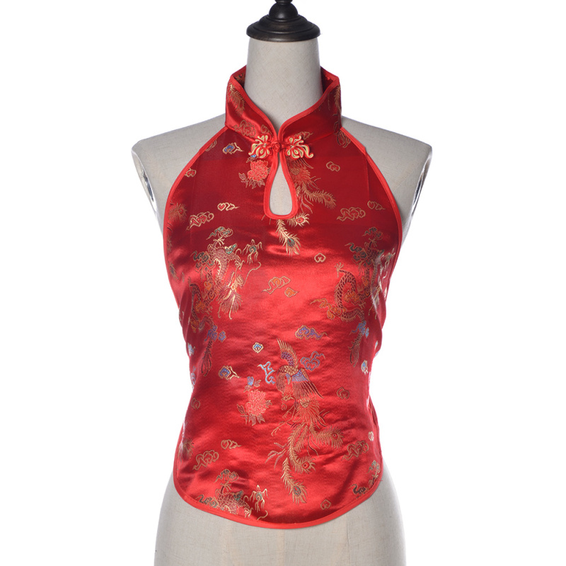 Chinese Vintage Handmade Dragon Embroidery Halter Top Cropped Backless Women Crop Tops(China (Mainland))