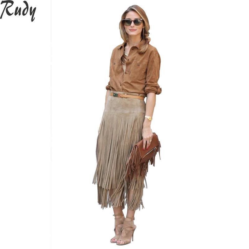 Free Shipping Black Khaki Victoria High Waist PU Leather Fringe Skirts Women Midi Tassel Skirt SK5035(China (Mainland))