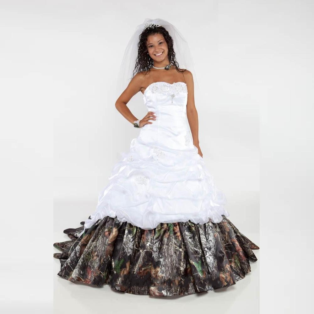 White Wedding Dresses With Camo : Wedding dresses satin camo pattern white bridal gowns in