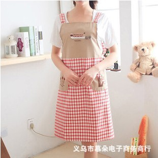 Factory direct anti-oil stain Korean fashion three trees sleeveless strap style embroidery cotton aprons wholesale(China (Mainland))