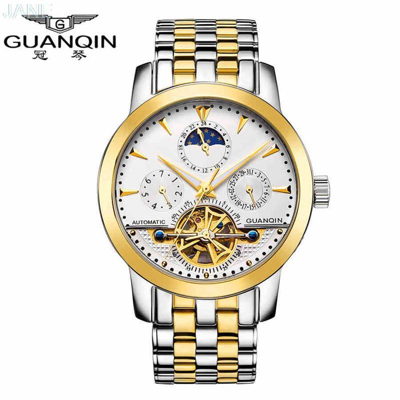 GUANQIN Automatic Self-Wind Tourbillon Moon Phase Mens Watch Original Strap Sapphire Self-Wind Men Skeleton Wristwatches 0750<br><br>Aliexpress