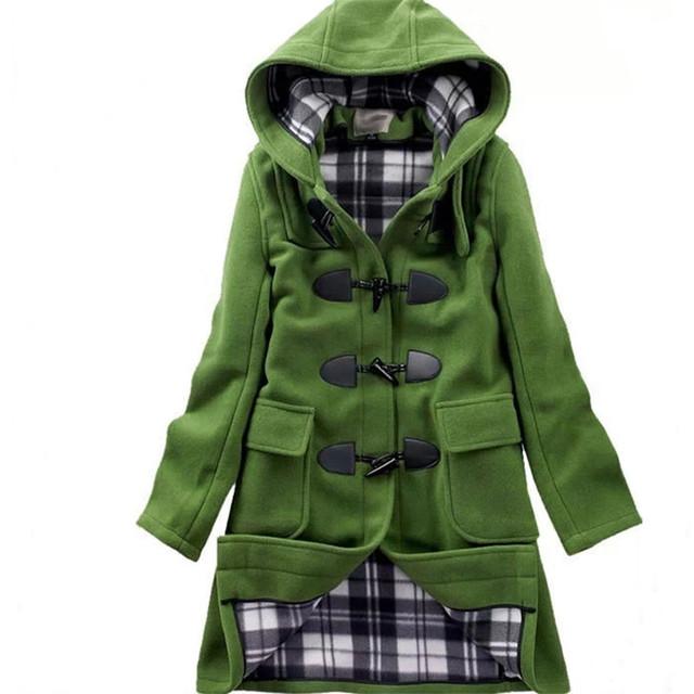 Шерсть и смесь большой размер женщин зимняя куртка рог кнопку разделе шерстяное пальто леди зима женская одежда шерстяное пальто TT306