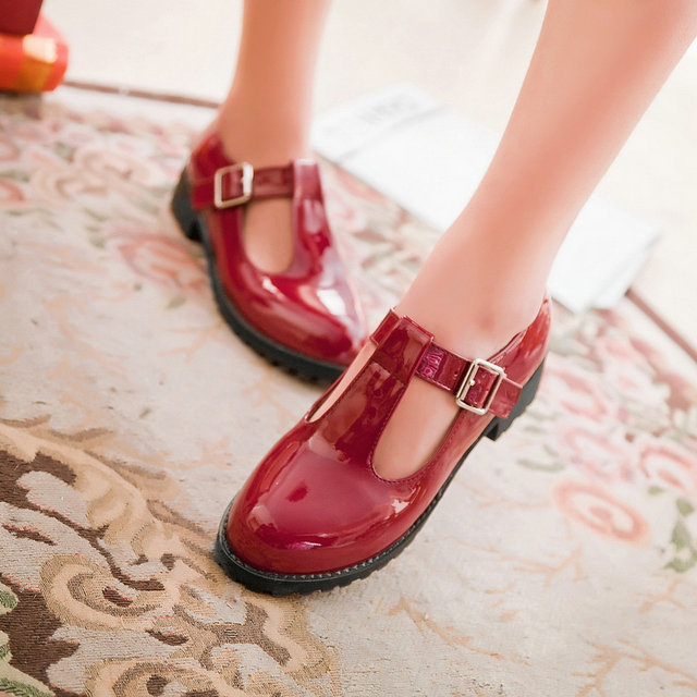 New vintage Casual round toe women's flat heel lacing single Patent Leather shoes Wedding Shoes black red brown white mfl-23(China (Mainland))