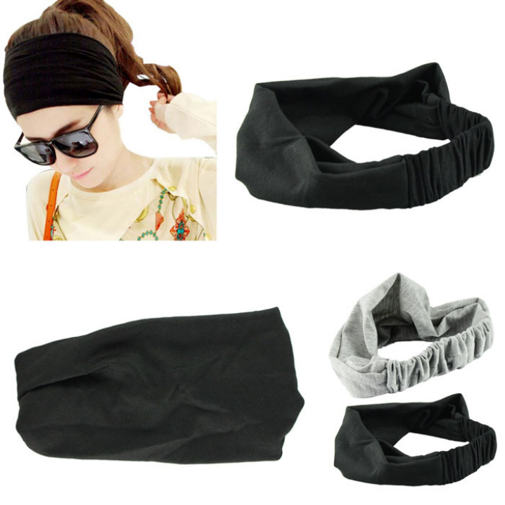 Essential Hair Accessory Full Vintage Wide Ribbon Headband Hair Band Bandanas Scarf New Fashion Party Black(China (Mainland))