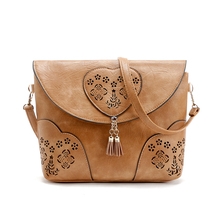 Buy Vintage Casual Women Bag Hollow Crossbody Bags PU Leather Small Shoulder Bag Brand Women Messenger Bags Bolsas femininas for $12.90 in AliExpress store