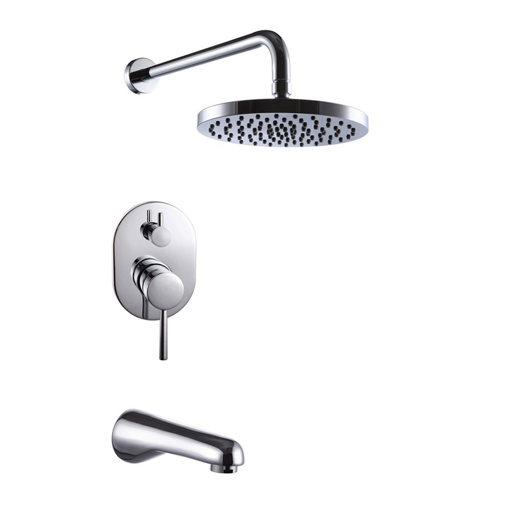 Wall Mounted Bathroom Single Handle Shower Faucet Set Trim Valve Body Tub Spo