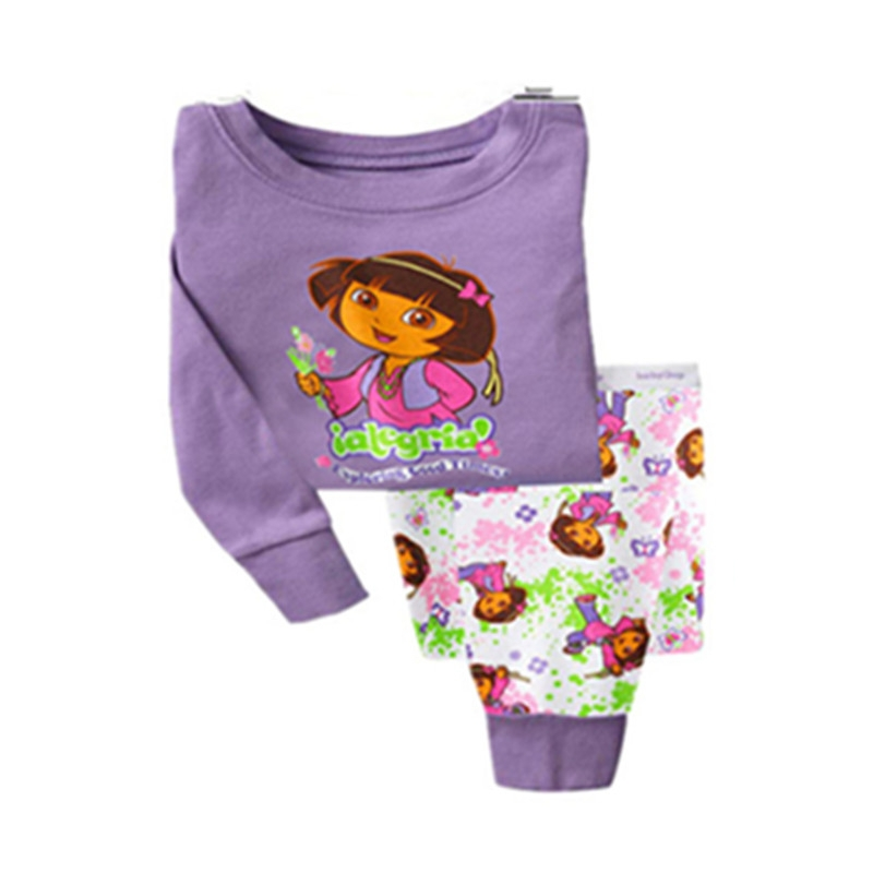 Retail New 2014 100% cotton kids pajamas clothing sets long sleeve t-shirts &amp; pants children Dora clothes set for baby girl<br><br>Aliexpress