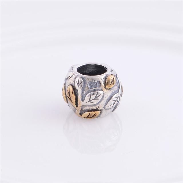 Стерлингового серебра 925 слайдер шарм бусины с позолоченный лист филиал DIY ювелирных изделий совместимость с пандора змея цепи браслет