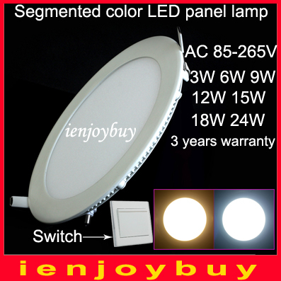 4pcs/lot 9W/12W/15W/18W Ultra-thin LED down light cold white to warm white from 6000K dim to 3000K(China (Mainland))