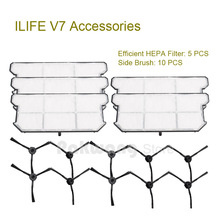 Buy Original ILIFE V7 Robot vacuum cleaner parts,Efficient HEPA Filter 5 pcs Side brush 10 pcs factory for $43.12 in AliExpress store