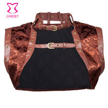 Brown Leather&Brocade Steampunk Jacket Match Corsets and Bustiers, Burlesque Costumes Accessories Sexy Corset Women Jacket Coat