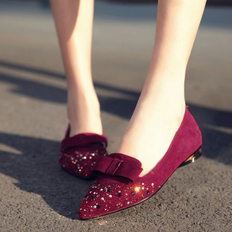 women pointed toe real genuine leather bowtie flat shoes lady sexy spring fashion quality footwear brand shoes size 34-39 R08615