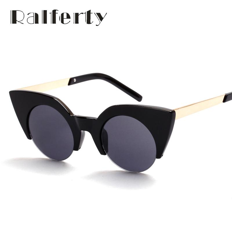 Ralferty Star Love Vintage Ladies Cat Eye Sunglasses Women Retro Round Lens Cateye Sun Glasses UV400 Shades Oculos lunette 1563(China (Mainland))