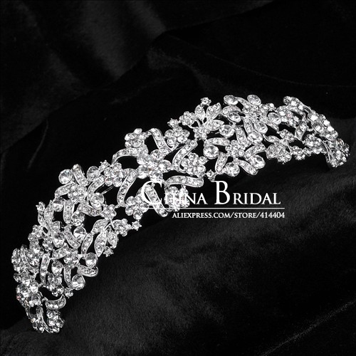 Rhinestone Crown Hairband Vintage Crystal Bridal Tiara Wedding Accessory Women Party Pageant Flower Jewelry Silver Plated(China (Mainland))