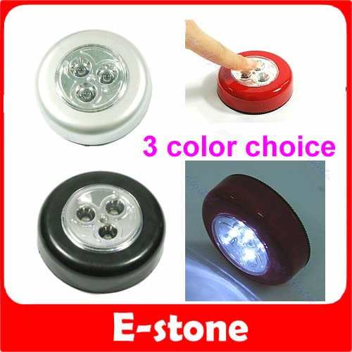 A96 10pcs/lot Round 3 LED Battery Powered Stick Tap Touch Light Click Lamp 3 COLORS CHOICE(China (Mainland))