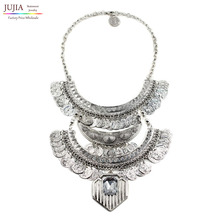 2016 fashion necklace Unique collar metal chain chunky choker coin pendant  statement coin necklace Necklaces & pendant(China (Mainland))
