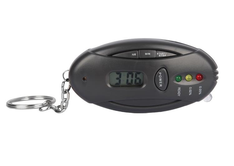 MINI Breathalyzer Alcohol Tester Yzer Car Key Chain + Flashlight + Stopwatch Gadgets With retail Package 10PCS(China (Mainland))