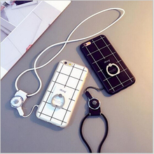 The chequered mobile phone shell with ring bracket lanyard protective sleeve