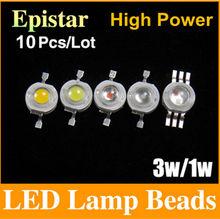 Free shipping 1W 3W LED Bulbs High power Lamp beads Pure White/Warm White 300mA 3.0-3.6V 100-220LM 30-45mil Taiwan Genesis Chip