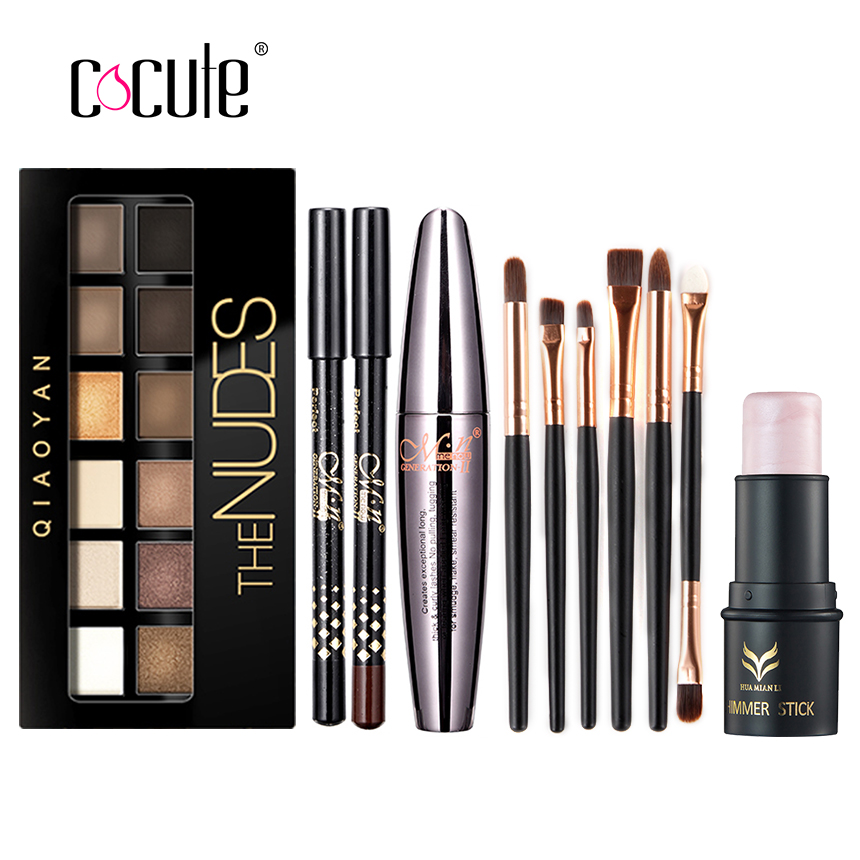 Cocute Makup Tool Kit 4 PCS Including Makeup Brushes Eyeshadow Eyebrow Pen Mascara and Highlighter Shimmer Stick for girl gift(China (Mainland))