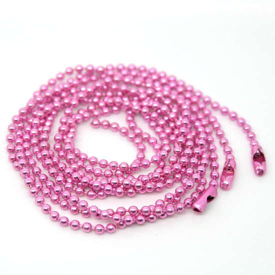 "wholesale 20 Strand Pink Ball Beads Chain Necklace 2mm Bead Connector 70cm(27"")(W01754 X 1)(China (Mainland))"