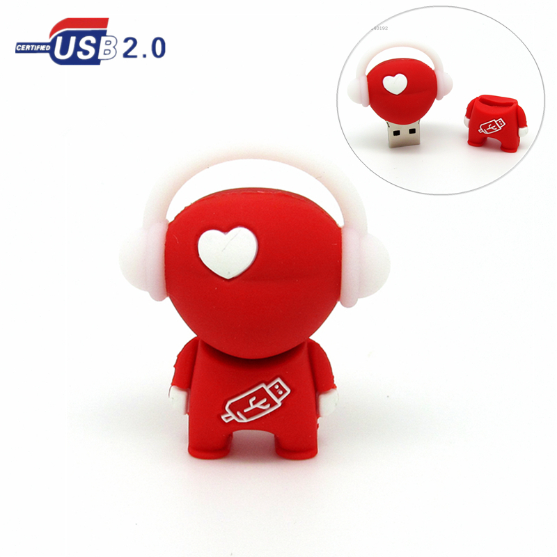 cartoon love heart music man USB flash drive red Pen drive 4gb 8gb 16gb 32gb flash memory stick Pendrive u disk real capacity(China (Mainland))