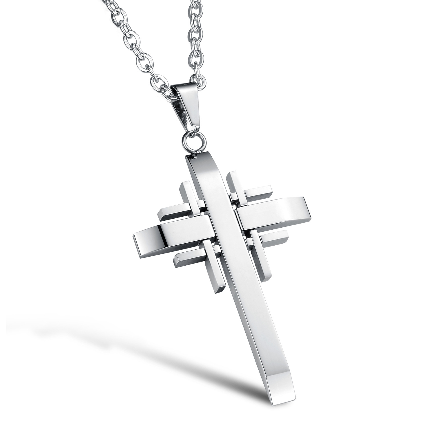 Fashion Personality Cross Pendant For Man Fashion 316L Stainless Steel Silver/Black/Gold Necklaces Vintage Men gift Jewelry(China (Mainland))