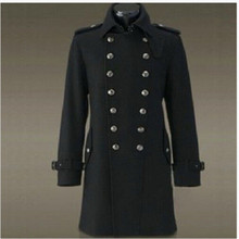 Hot Sale Winter England Style Mens Military Wool Blend Outerwear Double Breasted Trench Long Coat Overcoat Motocycle  Black(China (Mainland))