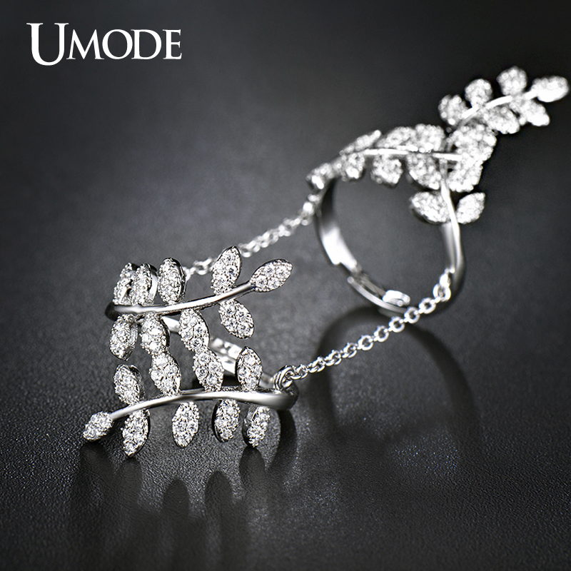 UMODE Bijoux Femme Bohemia Style Micro Cubic Zirconia Diamond Tree Branch Shaped Full Finger Rings Jewelry For Women AUR0266(China (Mainland))