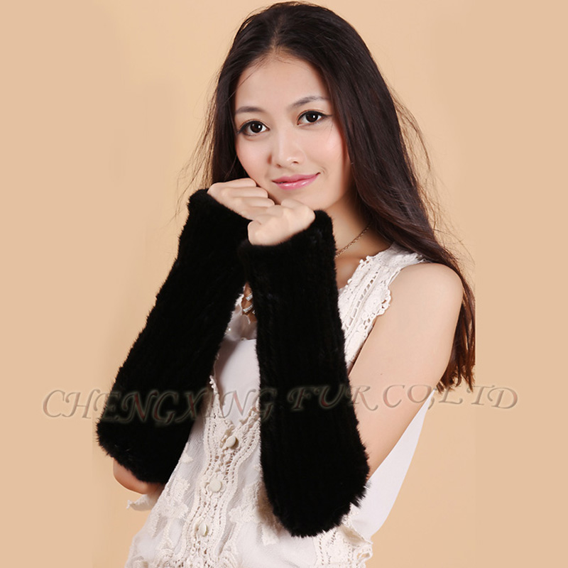 CX-A-61A Winter Arm Warm Fingerless Gloves Women Knitted Mink Fur Gloves(China (Mainland))