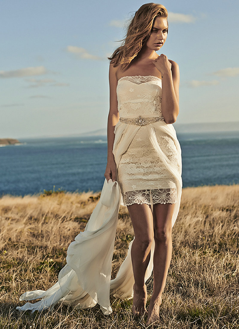 Short Bohemian Wedding Dresses With Skirt Wedding Dresses Roman Style Strapless Lace Chiffon