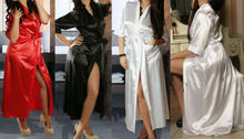 Details about Long Black Sexy SILK Kimono Dressing Gown Bath Robe Babydoll Lingerie Nightdress