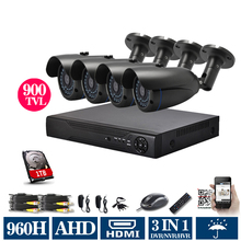 cctv 8 Channel AHDL 960h DVR 900TVL Outdoor Waterproof Bullet camera Video Surveillance Home 8CH Security Camera kit 1080p 1TB