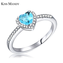 Buy KISS MANDY Silver Color Ring Woman Blue Crystal Wedding Ring Micro Paved CZ Women Jewelry LR74 for $3.47 in AliExpress store