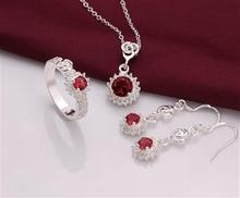 PS0693 Wholesale fine 100% Real Shot 925 pure Sterling silver necklace earrings ring jewelry set(China (Mainland))