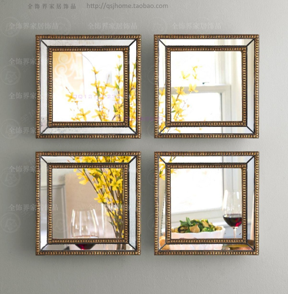 mirrored wall decor fretwork square wall mirror framed wall art set of