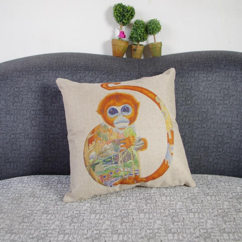 Coffee Shop Sofa Cushion Covers Special Design Animal Pattern Printed -- YW70057B(China (Mainland))