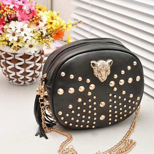 2014 Autumn PU Leather Women Ladies Shoulder Bags Rock Handbag Girls Messenger Bags With Rivet & Leopard Face, Free Shipping(China (Mainland))