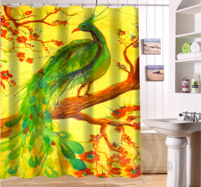 Free Shipping Custom Colorfulful peacock Waterproof Fabric Bathroom Shower Curtain home decoration SQ0622