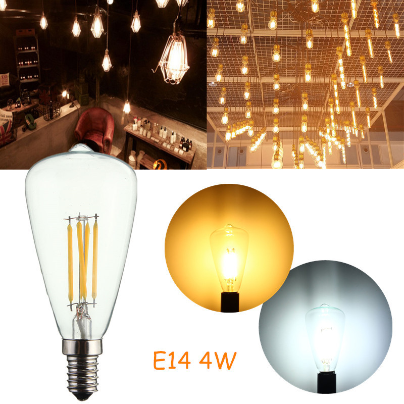 Non Dimmable E14 4W Vintage Antique Style Industrial Filament Light Bulb Edison COB Retro Lamp Pure Warm White 220V(China (Mainland))
