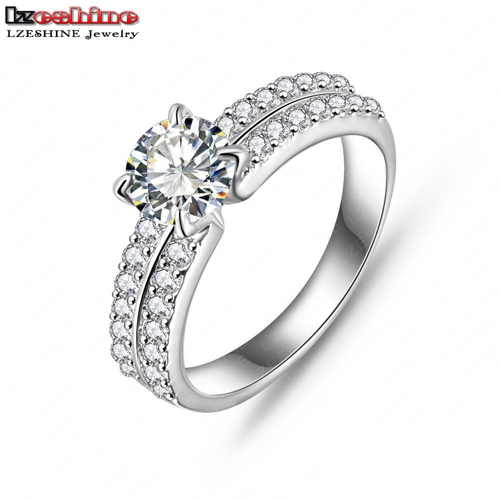 LZESHINE New Arrival Promise Ring Real Platinum /18K Gold Plated AAA Cubic Zircon Fashion Jewelry Rings For Couple CRI0022(China (Mainland))